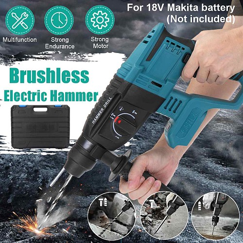 10000bpm rechargeable brushless cordless rotary hammer drill Impact Function electric Hammer impact drill For 18V Makita battery