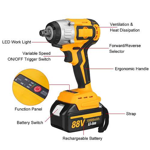 88V 460N.m Cordless Brushless Electric Impact Wrench with Rechargeable 10000mAh Lithium-Ion Battery Hand Drill Power Tool