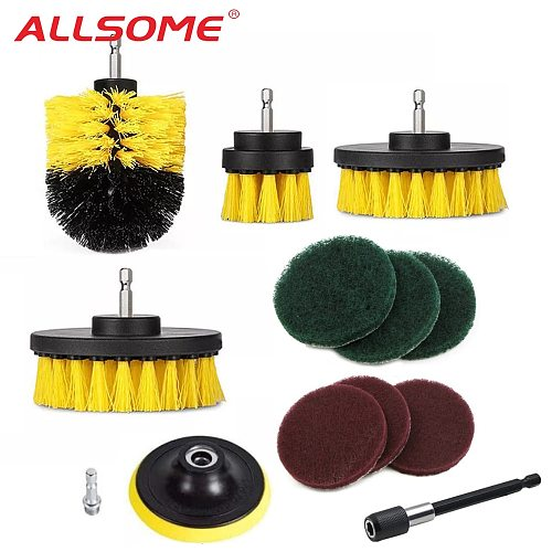 ALLSOME 12Pcs Electric Drill Brush Scrub Pads Grout Power Drills Scrubber Cleaning Brush Tub Cleaner Tools Kit HT2725