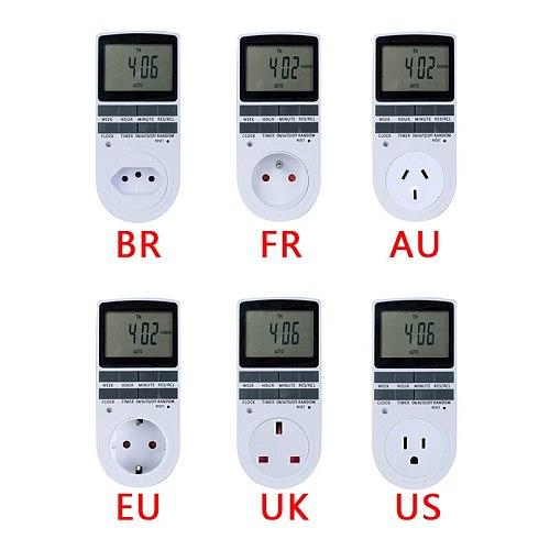 Electronic Digital Timer Switch 24 Hour Cyclic EU UK AU US BR FR Plug Kitchen Timer Outlet Programmable Timing Socket 220V