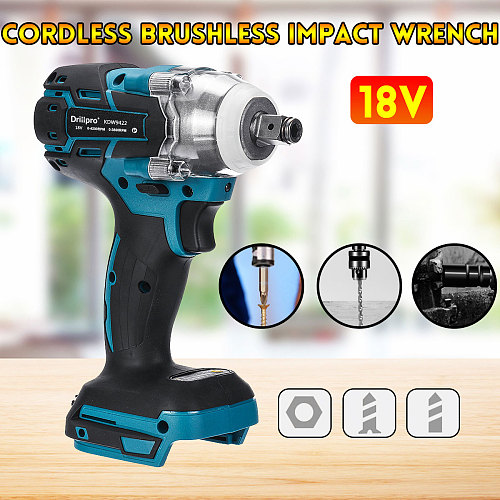 Drillpro 18V Electric Brushless Impact Wrench Rechargeable 1/2 Socket Wrench Power Tool Cordless Without Battery&accessories