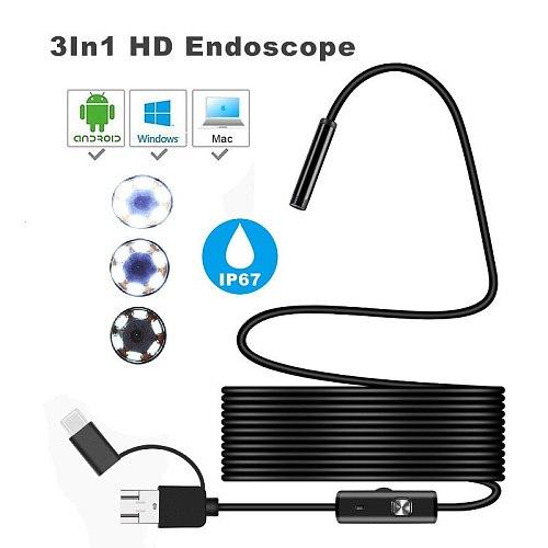 ARTBULL 7mm 3 in 1 HD Endoscope TYPE-C Mobile computer Industrial tube endoscope waterproof