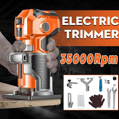 1280W Wood Electric Trimmer Electric Laminate Edge Trimmer Engraving Carving Trimming Machine with Woodworking Router Drill Bits