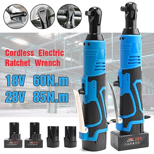 New Cordless Electric Wrench 18V/28V 3/8 Ratchet Wrench Right Angle to Removal Screw Nut Car Repair Tool with Battery Power Tool