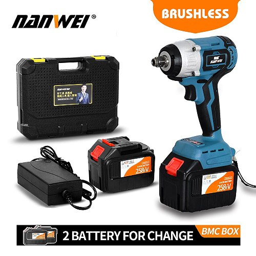 NANWEI China 2019 new big torque cordless impact wrench lithium battery powered for heavy duty industry use