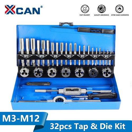 XCAN 32pc M3-M12 Metric Tap and Die set Hand Tapping Tools Screw Thread Tap Die Wrench Set