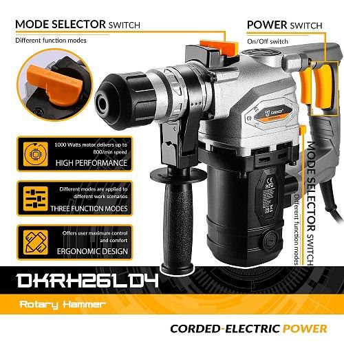 DEKO DKRH26LD4 230V Multifunctional Rotary Hammer Electric Demolition Hammer Impact Drill Punch Power Tools