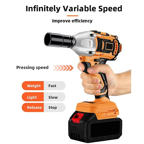 Powerful Impact Wrench Electric Burshless Impact Cordless Wrench 580Nm 680Nm 880Nm Electric Wrench Rechargeable Lithium Battery