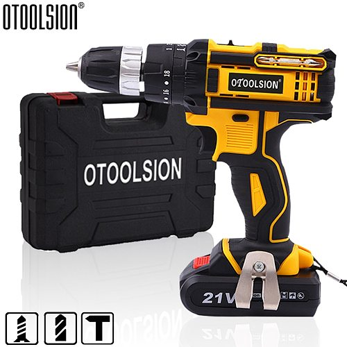 18+3 Torque 21V Cordless Drill Electric Impact Electrical Screwdriver Impact Wireless Tool Electric Hand Tools  Lithium Battery