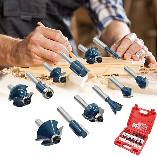 12pcs 1/4  Router Bits for Wood Shank Woodworking Milling Cutters Engraving Milling Cuttings Tools Wood Trimmer With Box