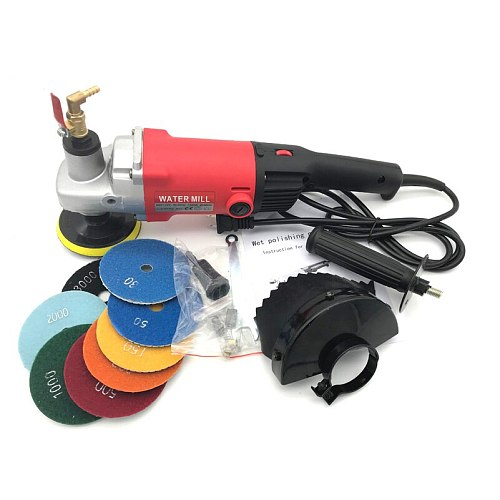 1400w Electric marble granite wet Stone Polisher grinder sander Hand Grinder Water Mill Variable Speed c/w 7 pcs polishing Pad