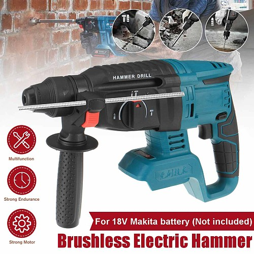 18V rechargeable brushless cordless rotary hammer drill electric Hammer impact drill without battery&case High Power