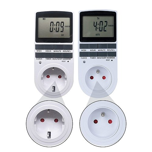 Digital Timer Switch Thermost 220V Weekly Programmable Thermoregulator Relay Timer Outlets Plug Socket Sinotimer for Household