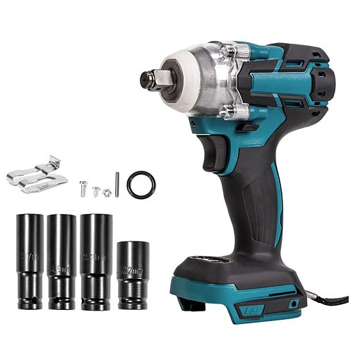 Impact Wrench Electric Brushless Rechargeable 18V-68V 1/2 Socket Wrench Cordless Without Battery For Makita 18v Battery