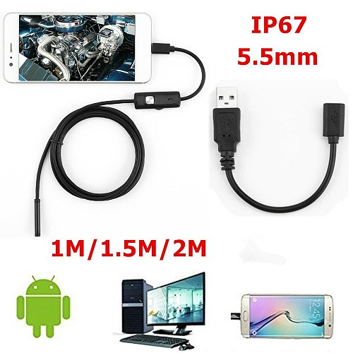 1 / 1.5 / 2M soft cable waterproof inspection endoscope 7mm 5.5mm endoscope camera HD USB endoscope with 6 LEDs for Android PC