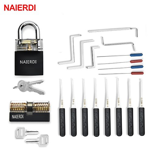 NAIERDI Locksmith Supplies Tension Wrench Tool Practice Lock Pick  Set Combination Padlock Broken Key Hand Tools Hardware