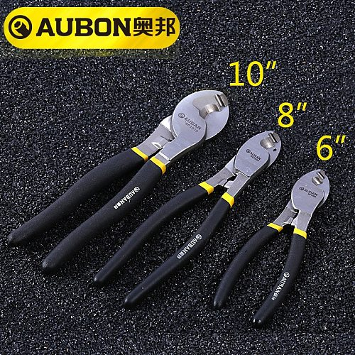 AUBON 6''/ 8 / 10  Heavy Duty Cable Cutter Electric Wire Cutting Stripper Plier Tool