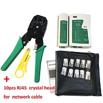Network cable clamp pliers stripping Crimping pliers+Professional Network Cable Tester RJ45 RJ11 RJ12 CAT5 UTP LAN Cable Tester