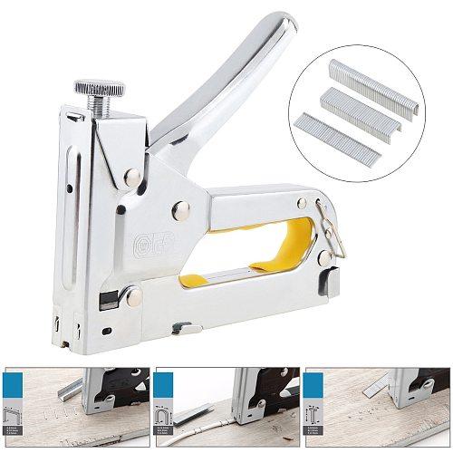 Three-purpose Manual Nail Staple Gun Furniture Stapler Upholstery Woodworking Tools with 600pcs Door-type U-type T-type Nails