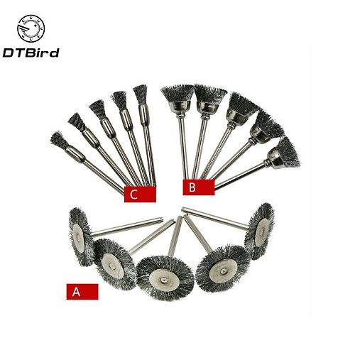 15pcs Brush Set Steel Wire Wheel Burr Abrasive Head Deburring Drill Tools Wheel Dremel Wire For Dremel Tools Accessories