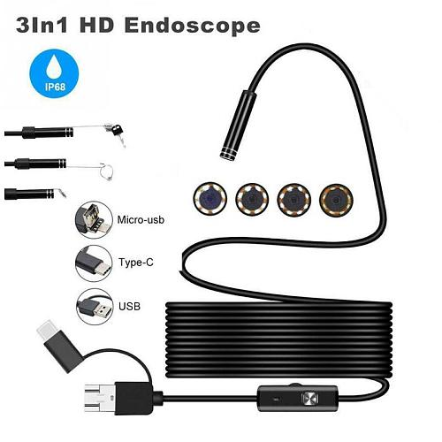 1-10M 8LEDs 1200P Endoscope Camera Flexible Waterproof Inspection Borescope Camera for Android phone PC Notebook USB Type-C 8mm