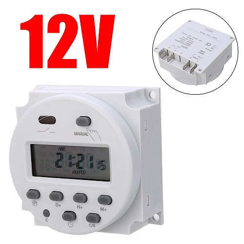 Timer Time Relay Switch AC/DC 12V 16A Programmable Digital Electric Weekly 7 Days Control For Home Appliance