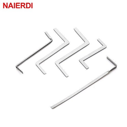 NAIERDI 5PCS Locksmith Hand Tools Supplies Broken Key Extractor Remove Removal Hooks Lock Kit Lock Pick Set Hardware