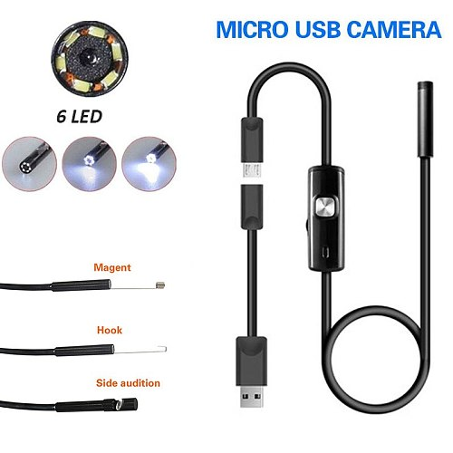 5.5mm Handheld Endoscope Ear Spoon Borescope 6 LED IP67 USB Real-Time Video Photos Monitoring Mobile Phones Computers