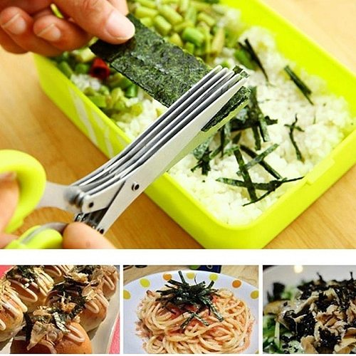 3 Layers/5Layers Stainless Steel Multilayer KitchenScissors Chopped Green Onion Vegetable Cut Herb Spices Scissors
