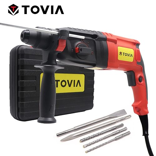 TOVIA 220V Electric Rotary Hammer SDS Plus Drill Chuck AC Electric Hammer Drill Variable Speed Safety Clutch