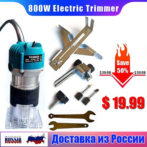 800W Woodworking Electric Trimmer Wood Milling Engraving Slotting Trimming Machine Hand Carving Machine Router EU Plug 6.35mm