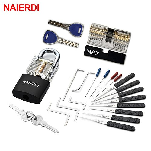 NAIERDI Practice Lock Pick Set Transparent Visible Copper Padlock Locksmith Supplies For Training Skill Hand Tools Hardware