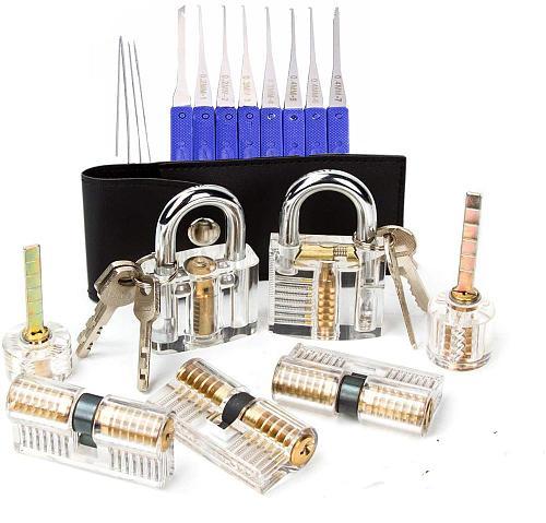7pcs Transparent Locks with 17pcs LockPick Set,10pcs Broken Key Extractor Pick Tool Combination,Locksmith Supply Kit