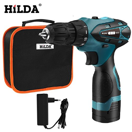 HILDA Electric Screwdriver Electric Drill Lithium Battery  Mini Drill Cordless Screwdriver Power Tools Cordless Drill 12V/16.8V
