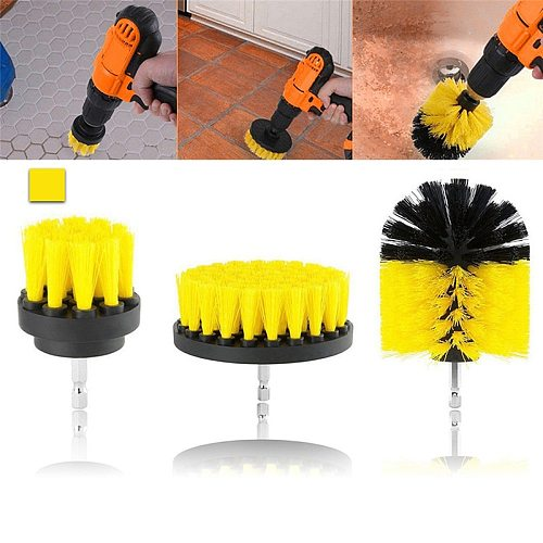 3pcs/set Drill Power Scrub Clean Brush For Leather Plastic Wooden Furniture Car Interiors Cleaning Power Scrub 2/3.5/4 inch