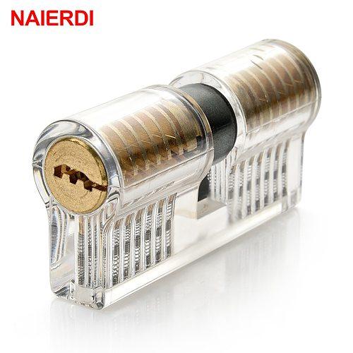 NAIERDI Practice Lock Pick Set Transparent Visible Copper Padlock Locksmith Supplies For Training Skill Hand Tools Hardware
