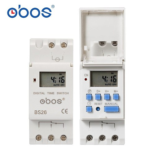 Best-selling 7-day programmable digital time switch relay timer control AC 220V 240V 110V DC12V 24V  16A DIN rail mounting BS26