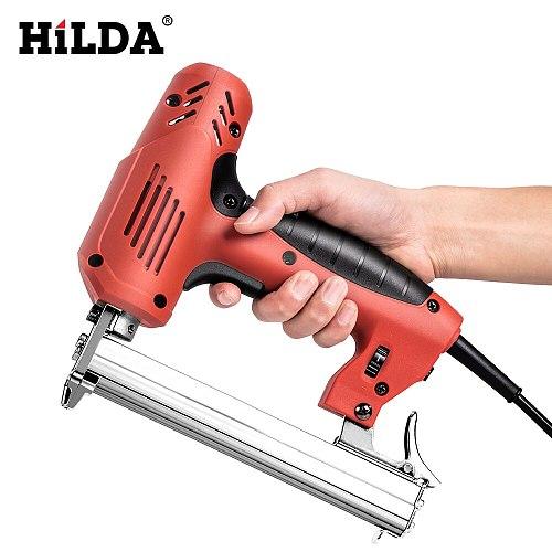 Hilda Electric Nailer 2 in 1 Staple Gun Framing Tacker U-Shaped Straight Nail Gun 1022J/F30/422J 6 speed 2000W Woodworking Tools