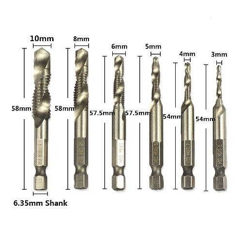 Hampton 6.35mm Hex Shank Metric Thread Tap M3 M4 M5 M6 M8 M10 HSS Screw Tap Drill Bits For Metal Spiral Hand Taps