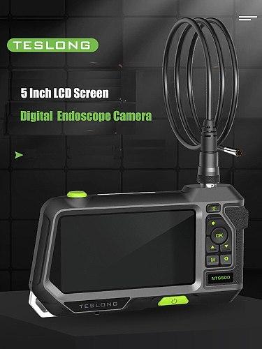 TESLONG NTS500 5.0  screen Dual Lens Digital inspection Camera 5M 1080P videoscope Pipe car endoscope Camera 5.5mm Borescope