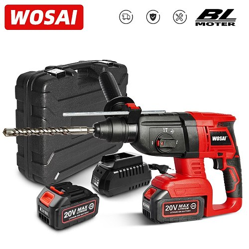 WOSAI MT Series 20V Multifunctional Rotary Hammer Brushless Motor Cordless Impact Hammer Electric Drill Pick for Switch Freely