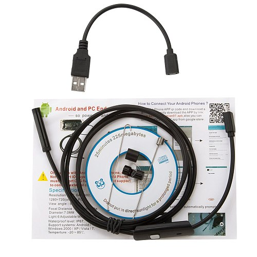 USB Android Endoscope 5.5mm Lens  Camera 1m/1.5m/2m Hard Cable Led Light Borescopes Camera For PC Android Phone