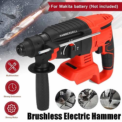 21V Handheld Electric Screwdriver Hammer Demolition Hammer Impact Drill Concrete Breaker Set Power Tool For Makita battery