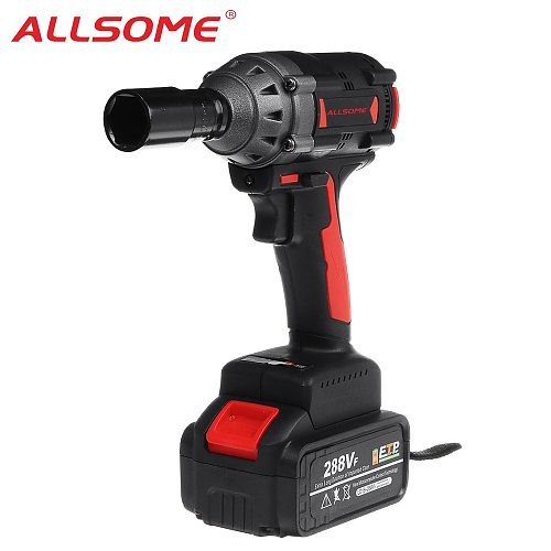ALLSOME 288VF 600NM Max Brushless Impact Wrench Li-ion Battery Brushless Motor Electric Wrench Power Tool With Charger Sleeve