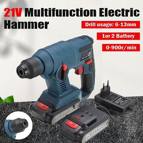 21V Multifunction Cordless Hammer Electric Impact Punch Hammer With Led Light Lithium-ion Hammer Drill
