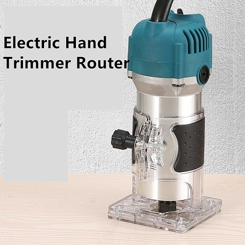 800W Electric Hand Trimmer Router Wood Carving Machine With Carrying Case Woodworking Wood Milling Slotting Machine