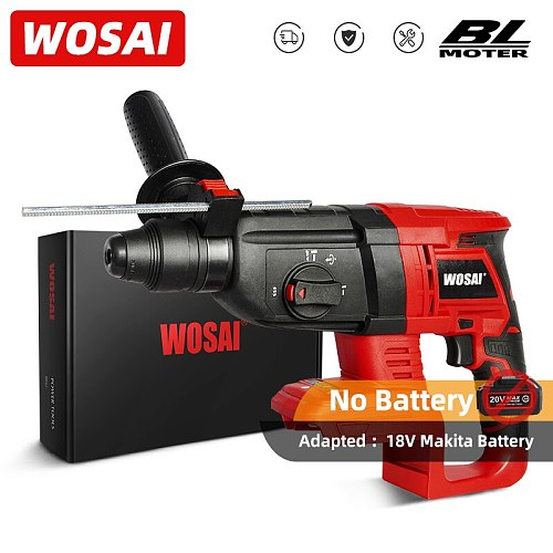 WOSAI 20mm MT Series Cordless Rotary Hammer Rechargeable Impact Drill Brushless Electric Hammer for 18V Makita Lithium Battery