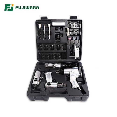 FUJIWARA 4pcs Pneumatic Tool Set, Air Shovel, 900N.M Torque Wrench, 68N.M Ratchet Wrench, Pneumatic Grinding Machine Air Hammer