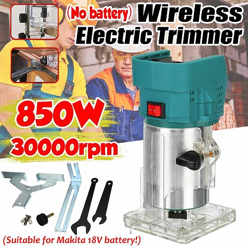 850W Cordless Electric Trimmer Wood hand trimmer Engraving Slotting Trimming Carving Machine Router Wood for Makita 18V battery