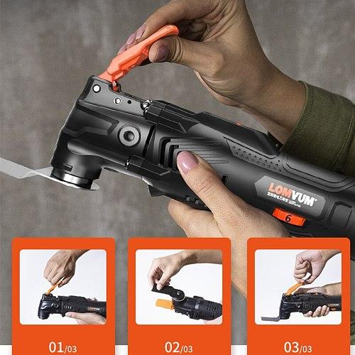 LOMVUM Power Renovator Cordless Oscillating 12V/21V Woodworking Tools DIY Home Oscillator Multi Cutter Electric Trimmer Blade